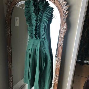 Green bcbg maxazria ruffle halter dress